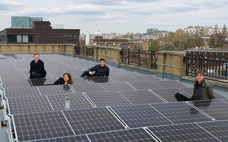 UCL students with solar panels