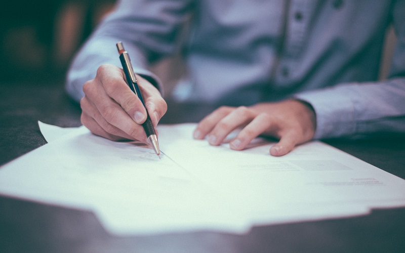 Person working on a document
