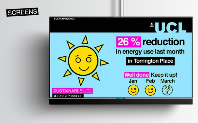 Digital screen with an energy saving poster