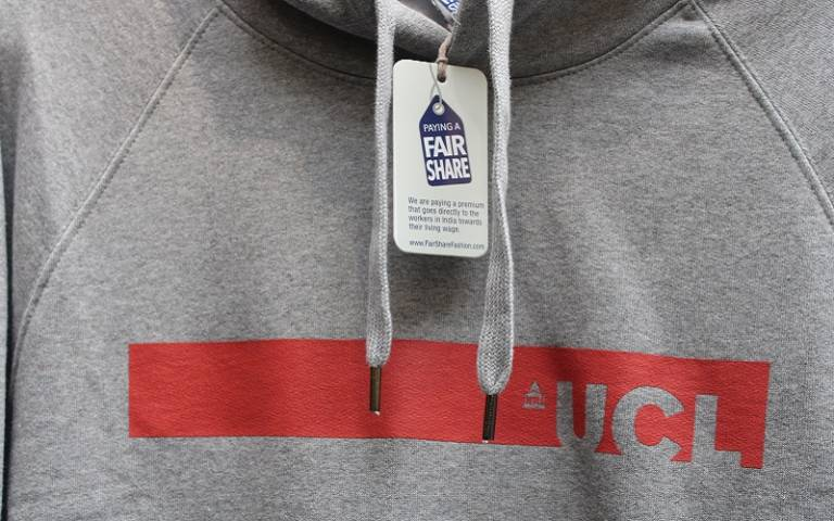 UCL branded jumper with Fairtrade label.