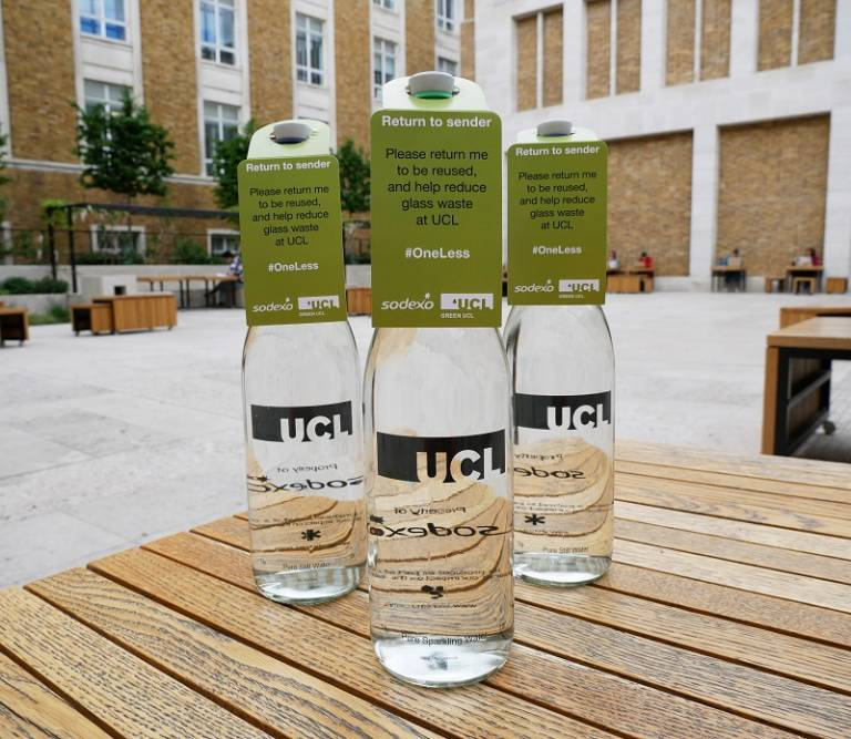 Reusable glass water bottles at UCL