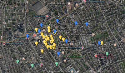 Map of cycling facilities at UCL