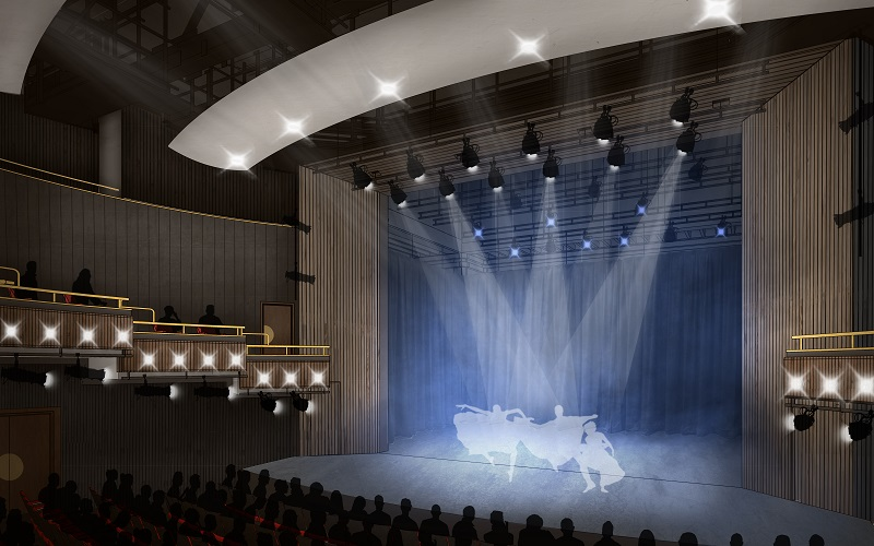 CGI of Bloomsbury Theatre Stage