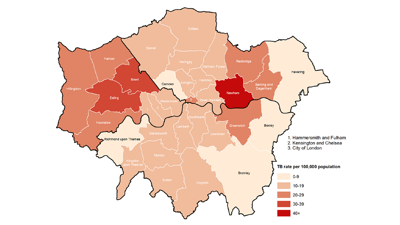 Map of TB in London 2018
