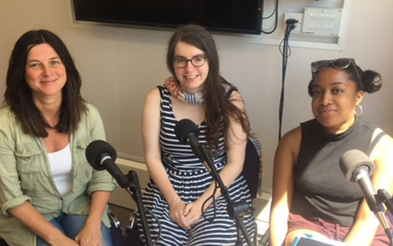 Dr Caroline Garaway, Emily Garvin and Mahalia Changlee recording a podcast about the project