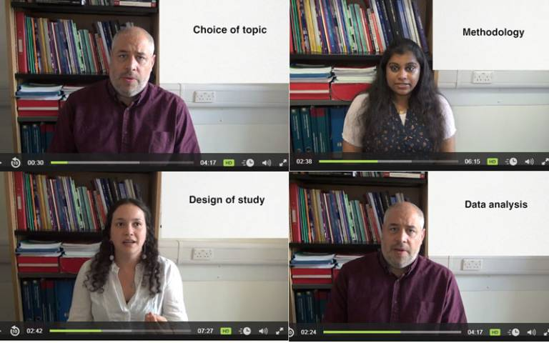 A collection of still from a video of UCL alumni giving advice about research and dissertation planning
