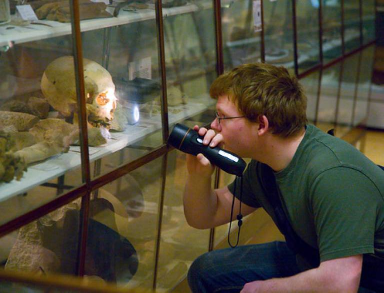 A student in the Petrie Museum
