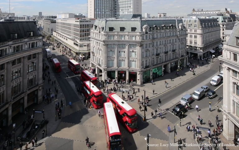 Aerial view of Oxford St, London