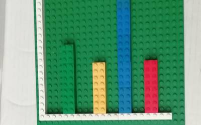a green lego board with strips of coloured lego blocks