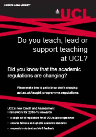 Poster about the changes to academic regulations at UCL
