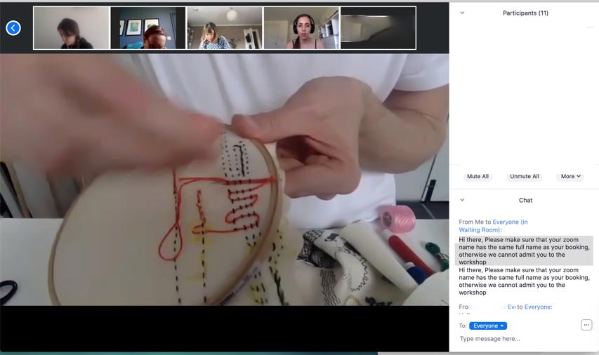 Screenshot of online small scale masterclass