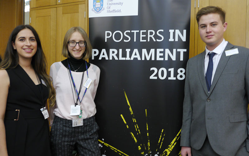 Students Zane Mitrevica, Enya Gomes Clynch and Douglas Head at Posters in Parliament