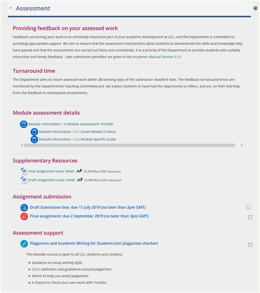 Screenshot of Baseline Assessment page