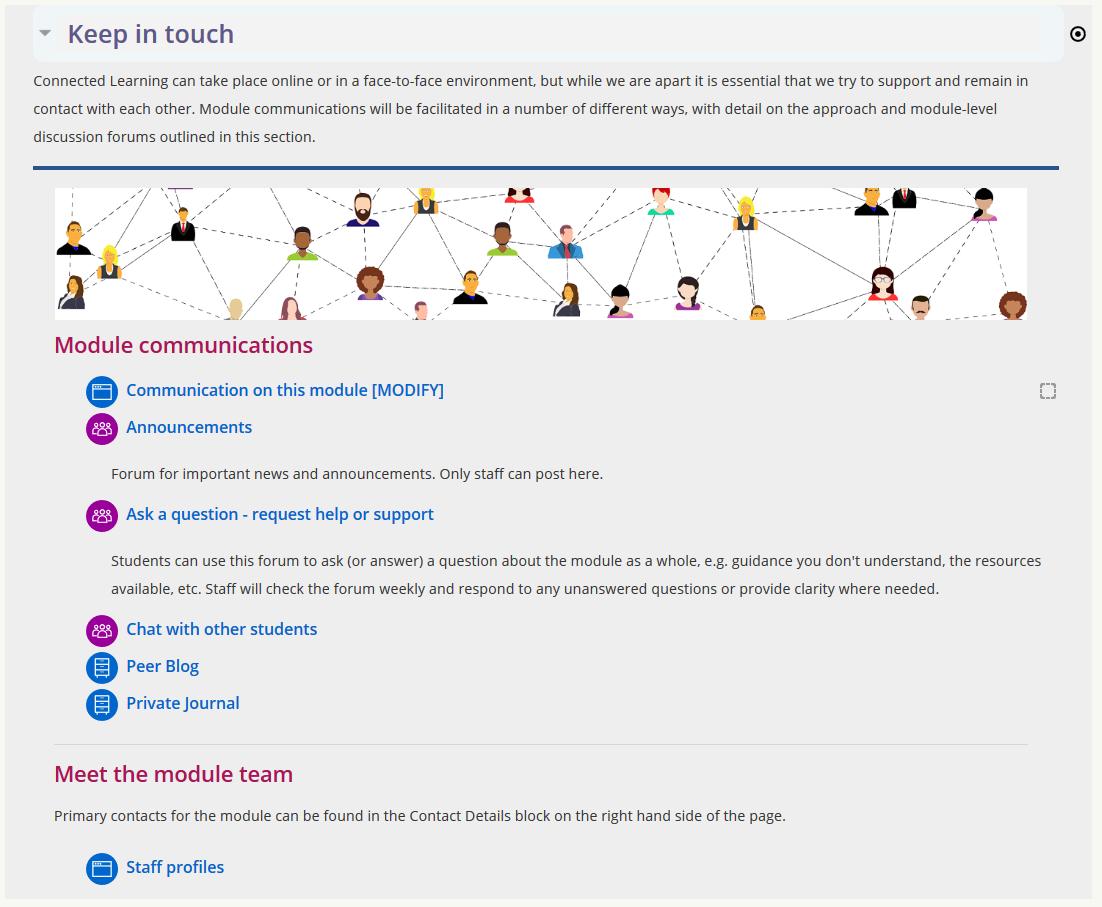 Screenshot of Baseline aligned communications