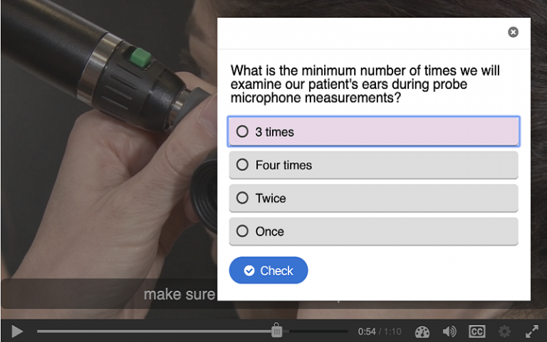 Image of a H5P multiple choice question activity in Moodle
