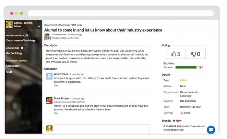 Screenshot of Unitu student voice platform