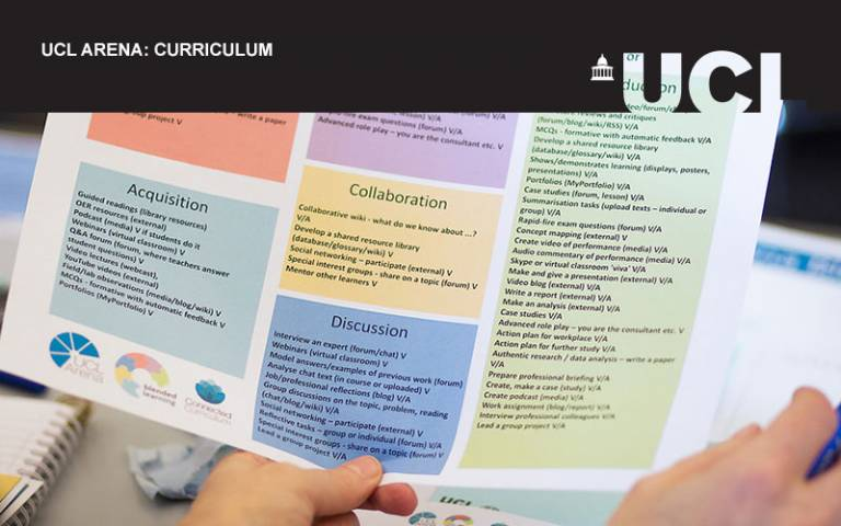 UCL Arena event image for curriculum. A picture of someone looking at handouts during an ABC curriculum design workshop