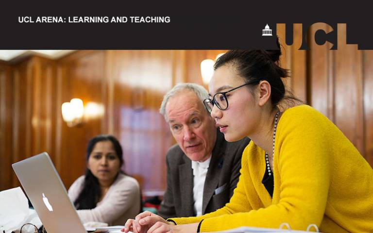 UCL Arena event image for learning and teaching. A picture of two people at a computer