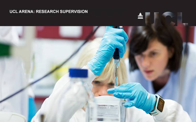 UCL Arena event image for research supervision. A picture of people working in a laboratory