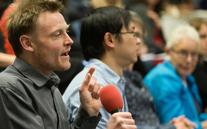 A participant asks a question at the UCL Education Conference 2018
