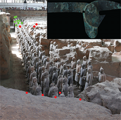 Two examples of trigger sub-groups in the eastern part of Pit 1.