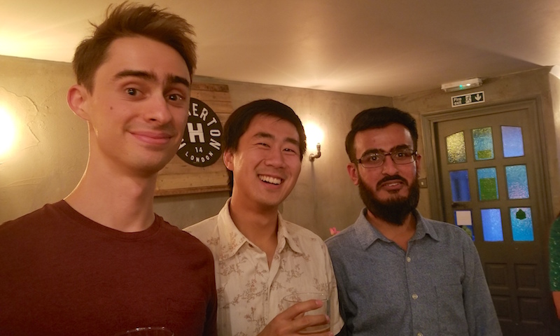 Stephen, James and Hataf at the Towers PhD student finishing party