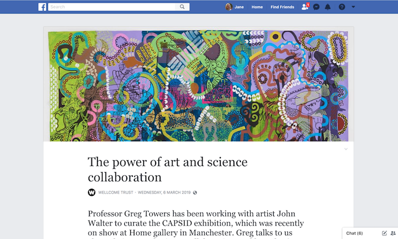 The Wellcome Trust has done a feature 'The Power of Art and Science Collaboration' on Facebook