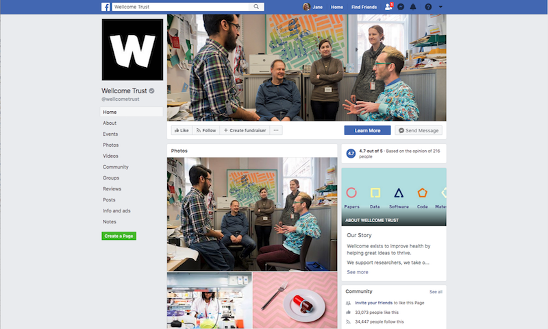 The Towers Lab features on the Wellcome Trust's cover picture on Facebook