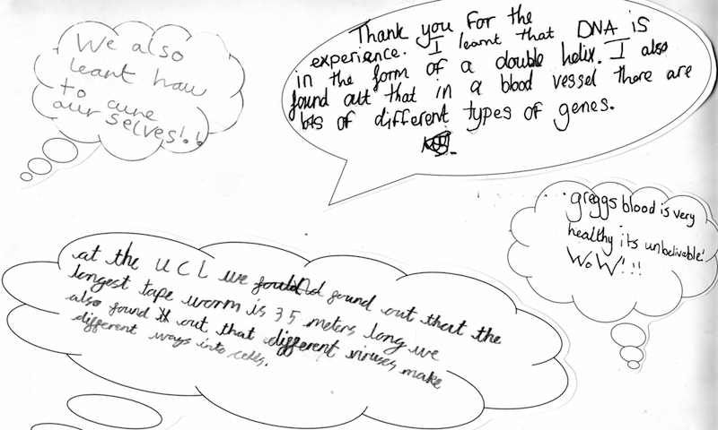 Feedback from children after a visit to UCL teaching labs to learn about pathogens and science research with Prof Greg Towers and Dr Richard Milne