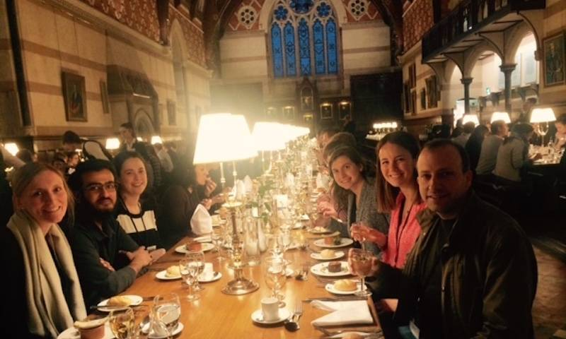 Becky, Hataf, Elisa, Lorena, Lucy and Pierre enjoy dinner at Keble College, Oxford at the EMBO Pathogen immunity and signalling workshop, 2019