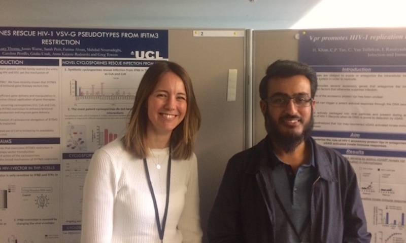 Lucy and Hataf present their posters at the EMBO Pathogen immunity and signalling workshop in Oxford, 2019