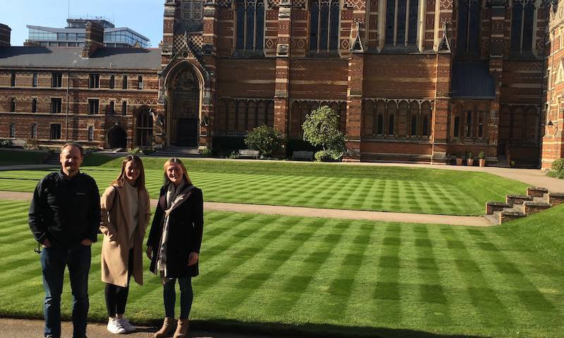 Greg, Becky and Lucy outside Keble College, Oxford, EMBO meeting 2019