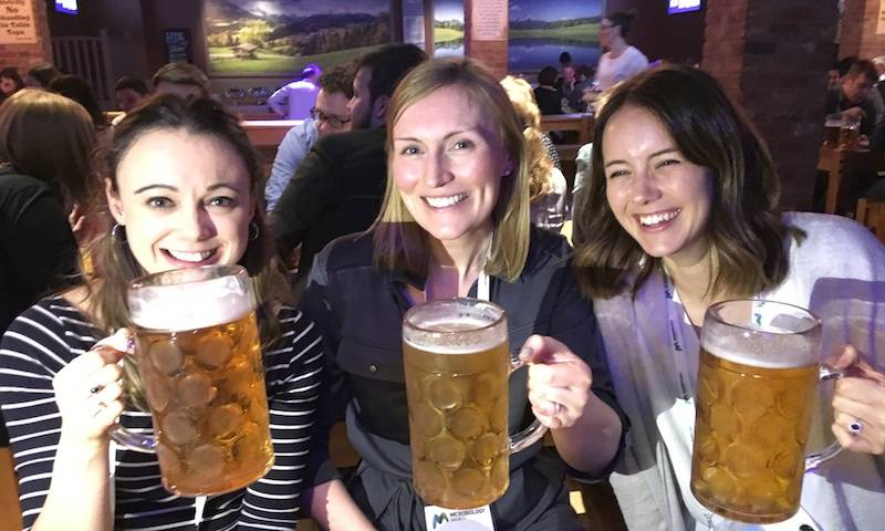 Claire, Becky and Lucy attending the Microbiology Society Annual Conference in Birmingham, 2018