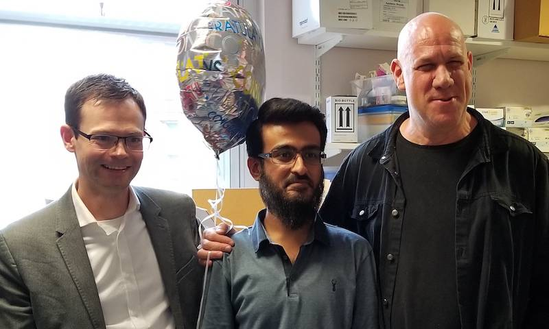 Prof Jan Rehwinkel, Dr Hataf Khan and Prof Eran Bacharach. Hataf and his examiners celebrate his PhD, Aug 2019