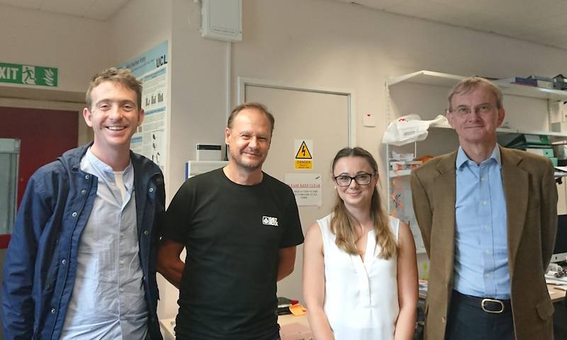 Dr Joe Grove, Prof Greg Towers, Dr Claire Kerridge and Prof Charles Bangham after Claire's viva