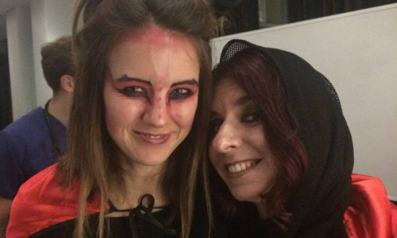 Lucifer Lucy and Black Widow Solene at the Towers Lab Halloween party 2017