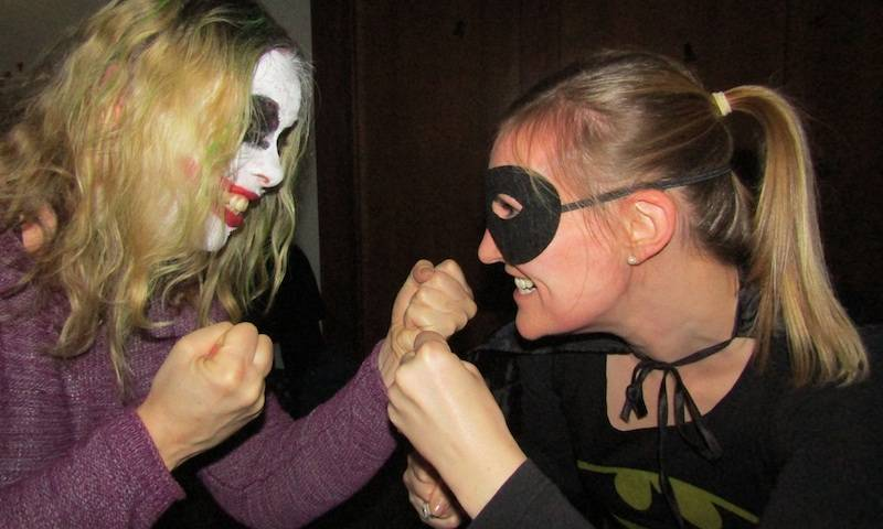 Joker Jane and Becky Batman fight it out at the Towers lab Halloween party 2017