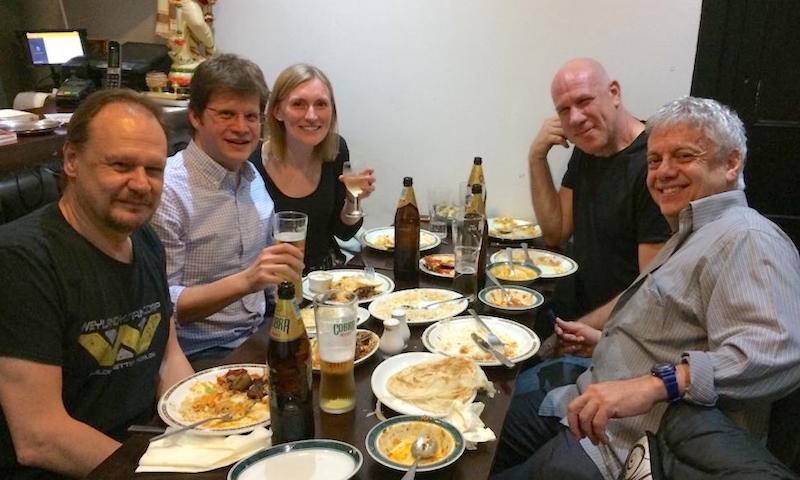 Greg Towers, Carlos Maluquer de Motes, Becky Sumner, Eran Bacharach, Marcelo Ehrlich enjoy dinner at Ragam, March 2019