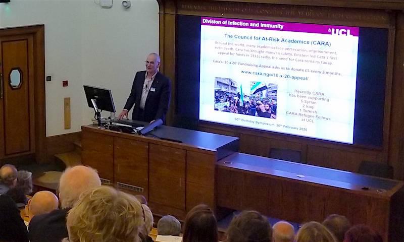 Prof Robin Weiss talks at his 80th birthday Symposium. Feb 2020