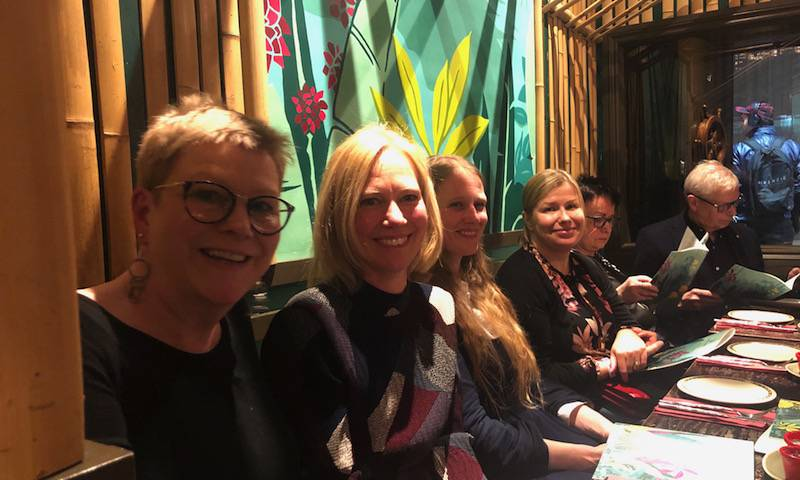 Prof Áine McKnight, Dr Marlen AAsa-Chapman, Dr Laura McCoy celebrate Robin's 80th at ragam. Feb 2020