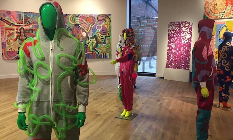 Onsies from 'A Virus Walks into a Bar' on display as part of the CAPSID exhibition at 'Home' in Manchester