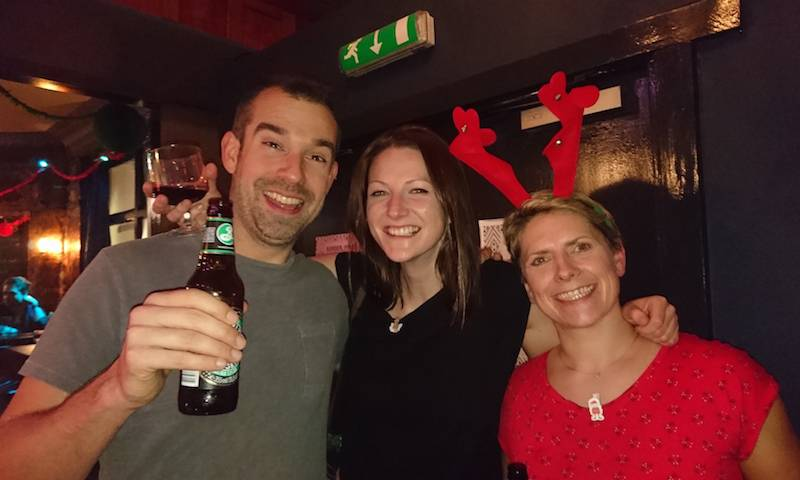 Chris, Laura, and Jen at the department Christmas party 2016