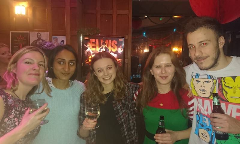 Isobel, Maitreyi, Claire, Shimona, Rich at the department Christmas party, 2016
