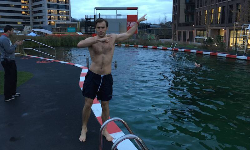 Doug open water swimming in 6 degrees at Kings Cross, 2016