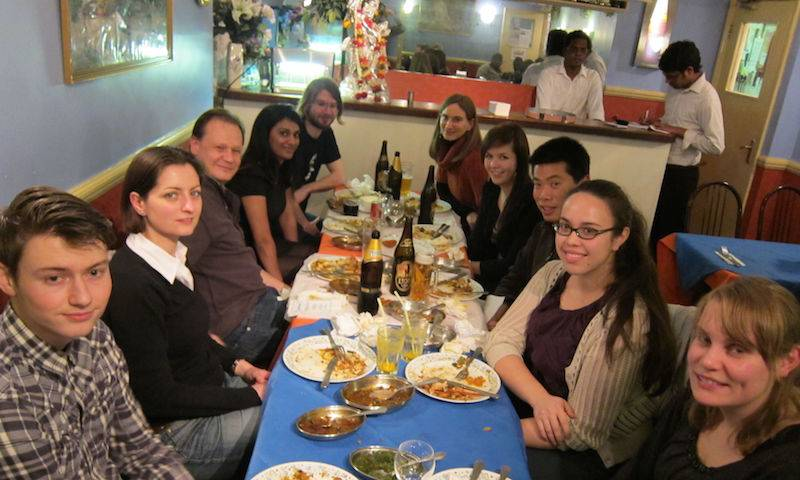 Dinner at Jaffna House: Caroline Blondeau, Greg Towers, Jane Rasaiyaah, Adam Fletcher, Sarah Petit