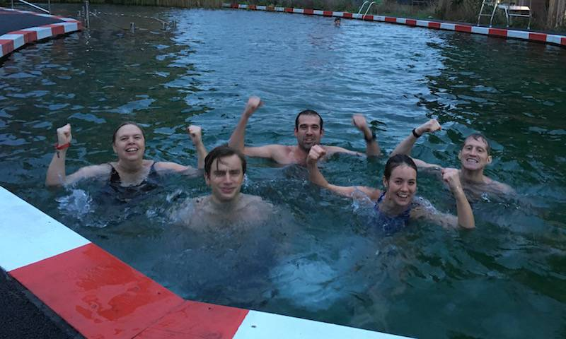 Jane, Doug, Chris, Lucy swim in 6degrees at the Kings Cross natural pool, December 2016