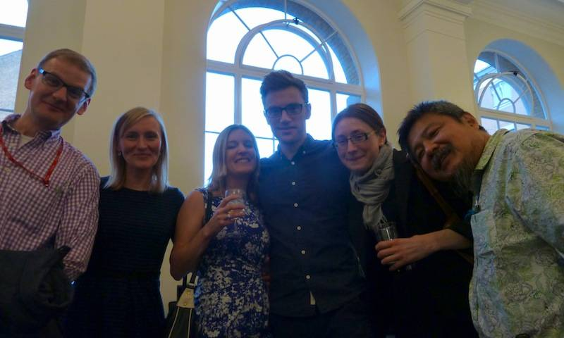 Richard, Becky, Isobel, Doug, Katsia and Yasuat the celebrations for winning Wellcome Grants, UCL 2015