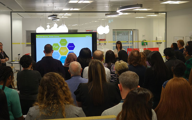 Natalie Conway presenting at the PS Hub launch