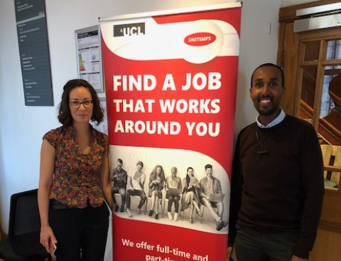 Photo of Sam and Khiera from the Unitemps team