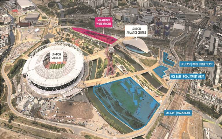 an aerial photo of the olympic park showing the UCL East campus sites highlighted in blue